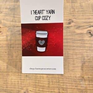 Red I Heart Yarn Coffee Pin