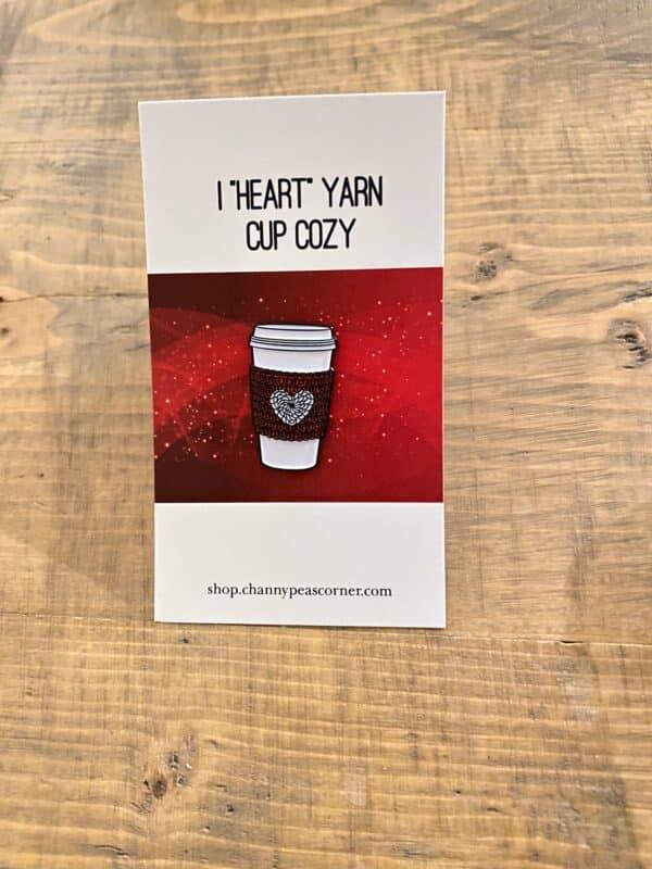 Red I Heart Yarn Coffee Pin 1