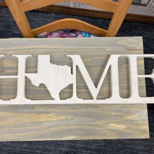 "HMHT Texas Wood Sign ""HOME"""