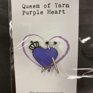 Purple Heart Knitting Pin