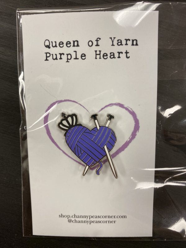 Purple Heart Knitting Pin 1