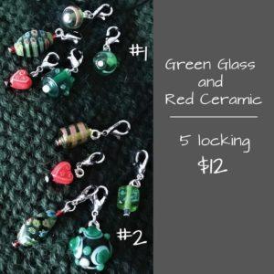 Stitch Marker Green Glass #2