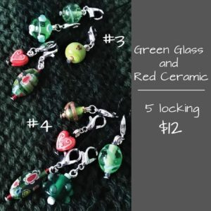Stitch Marker Green Glass #4