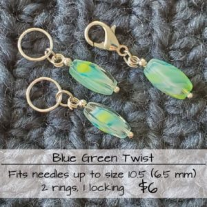 Blue Green Twist Stitch Markers
