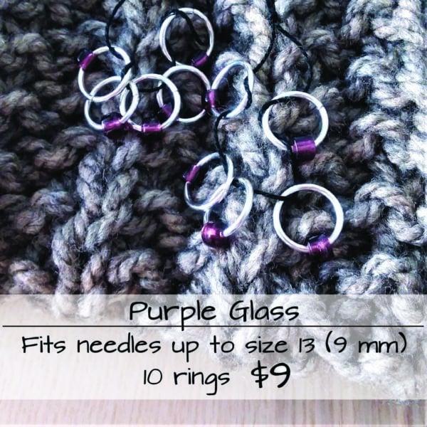 Stitch Marker Purple Glass 1