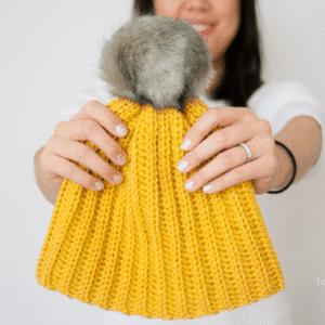 Intermediate Crochet 10/12 Ribbed Beanie 34