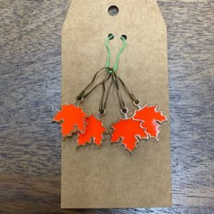 Bright Orange Leaf Stitch Marke