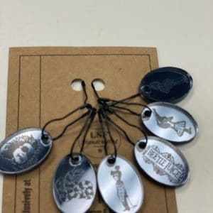 Gray Beetlejuice Stitch Markers
